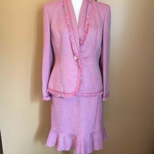 KASPER Pink Silver Tweed Skirt Jacket Blazer Suit